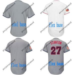 2018 Sterne Streifen Miami Jersey 9 Lewis Brinson 27 Giancarlo Stanton 11 J.T. Realmuto 14 Martin Prado 41 Justin Bour Baseball Trikots