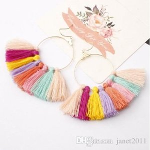 DIY Fan Tassel Earrings Bohemian Style Dangle Pendientes Cotton Thread Multi Color Fringe Thread Drop Dangle Pendientes