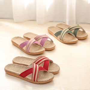 Summer Autumn Indoor Slippers Linen Home Shoes Women Flat Shoes Hemp Sweat-absorbent Breathable Soft Floor Slipper