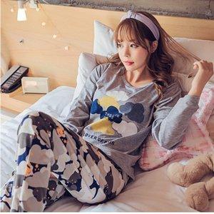 Conjuntos de pijamas para mujer 2018 Cuello redondo de verano Ropa de dormir de dibujos animados pantalones de manga larga pijamas conjuntos Preciosa ropa de hogar Ropa de ocio S1015