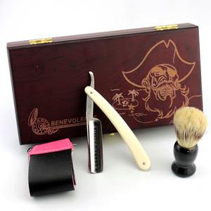 Barber Shaver Kit Men Gold Dollar 600 Straight Razor Folding Knife Shaving Brush Set Beard Strop Men's Gift Box Packaging