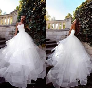 2020 без бретелек Платья-де-Novia белых свадебного платья Ruched тюля Поезд стреловидности корсет Назад Простые элегантные сшитые Свадебных платья