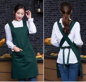 Eco-Friendly mujeres Supermercado delantales del camarero con los bolsillos cocina del restaurante de cocina Nail Art Work Shop delantal Diseño Logotipo Personalizar