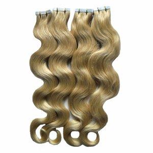 인간의 머리카락 확장에 금발 테이프 BODY WAVE 기계 접착제에 레미 헤어 보이지 않는 테이프 PU 피부 Weft 레미 헤어 익스텐션 200G 80PCS