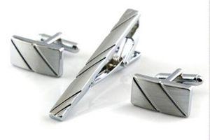 Les boutons de manchette de haute qualité de goupille de cravate ensemble simples de bande de diagonale de cravate