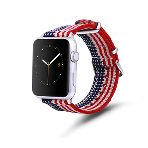 For Apple Watch Rainbow Nylon Band Stars and stripes flag strap Iwatch bands series 1 2 3 sports Unisex strap with Stainless steel buckl