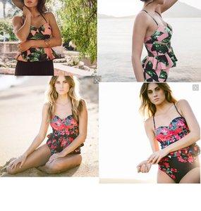 2018 Seksi Bikini Mayo Kadınlar Şınav Mayo Yüksek Waisted Mayo Çiçek Biquini İki Adet Bikini Tankini Beachwear