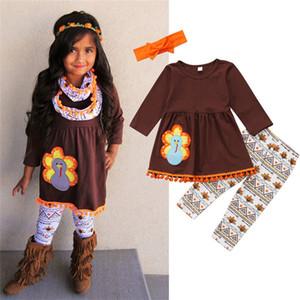 Baby Girls Boutique Outfits 2018 새 도착 추수 감사절 복장 프릴 T 셔츠 탑 드레스 꽃 바지 머리띠 아기 소녀 의상 세트 2-6T