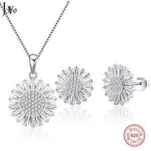 Jovo Jewelry Sets 925 Sterling Silver Colgante Necklace + Stud Earring Princess Wedding Engagement For Women 3 PCS Juegos de girasol