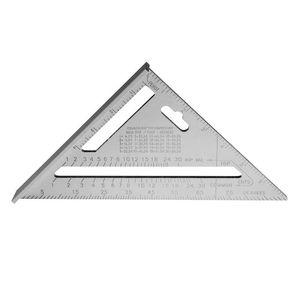 7inch Triangle Protractor Silver Aluminum Alloy Speed Square Roofing Triangle Angle Protractor Woodworking Tools