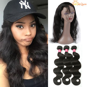 El pelo brasileño pre arrancado de la onda del cuerpo teje con el encierro frontal de la venda del cordón 360 con el pelo humano de la Virgen del cordón 360 del paquete con el pelo de Bady