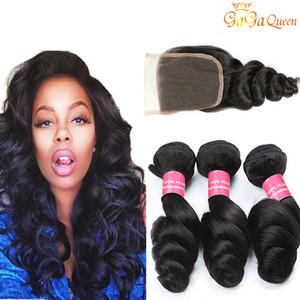 Peruvian Loose Wave Hair bundles With Closure Peruvian Virgin Hair With Closure Unprocessed Human Hair Weaves Bundles With 4x4 Closure