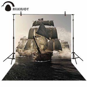 wholesale backgrounds for photography studio retro wood pirate ship fleet fog sea start sailing backdrop professional photocall