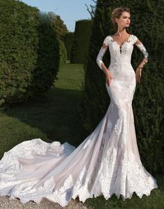 Designer de sereia vestidos de noiva jóia pescoço Appliqued ilusão voltar castelo vestidos de noiva trompete tule capela trem vestido de novia