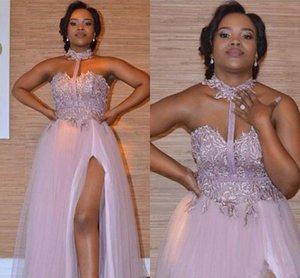 2018 Nueva Dusty Pink Dama de honor Vestidos Apliques de encaje Longitud del piso Tul dividida para la boda Vestidos de dama de honor Vestido de fiesta