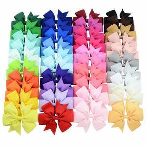 40 Unids 40 Colores Sólido Grosgrain Cinta Arcos Clips Horquilla del pelo de la muchacha arcos Boutique Pinza de Pelo Headware Niños Accesorios Para el Cabello
