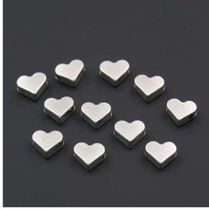100 UNIDS Silver / gold Heart Small European Hole Spacer Beads Adapta Diy Hechos A Mano Pulseras Del Encanto Accesorios