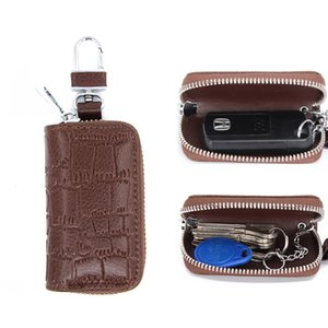2018New leather car with men's car key bag high-grade leather key bag stickers diamond crocodile home YC003