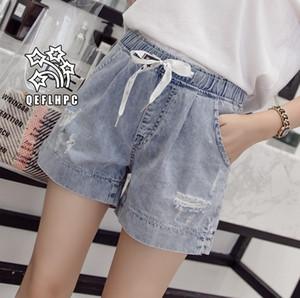 Shorts en denim Pantalons larges pour femmes Vêtements Jeans pour dames Vêtements décontractés Pantalons cowboy Shorts en jean Wathet Hole Ripped A3229
