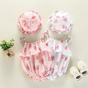 Nicely Ins verão infantil menina romper Stawberry impressão suspender Romper + chapéu de algodão bebê Subir moda verão romper