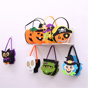 Halloween Props Tote Candy Bag Pumpkin Witch Skull Niños decorativos Non-woven Felt Fabric Bag para niños Festival Celebration