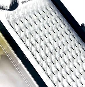2019 6D Rus Hacmi Kirpik Uzatma kısa Kök Ön yapılmış Hayranları C / D kıvırmak 0.07 / 0.1mm Vizon Kirpik Kirpik Bireysel Uzantıları