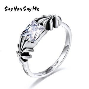 925 Ayar Gümüş Beyaz Zirkon Yüzükler Toptan Gümüş Sevimli Çiçek Yüzükler DüğünEngagement 2018 Yeni Varış Söyle Say Bana Y18102610