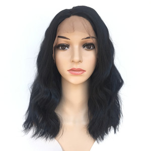 Black BOBO Lace Front Hair Like Human Wigs Wavy Short Wave Natural Wave Pre-plucked Hairline Brazilian Virgin Hair 150% Density