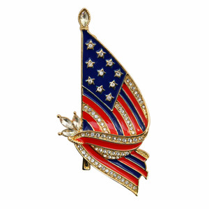 Broche de Esmalte de liga de Pin Broche de Bandeira Americana PIN para July 4th Jewelry 10 pçs / lote 38mmx57mm