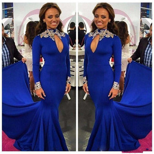 Plus Size Mermaid Prom Dresse Manica lunga Royal Blue Long Evening Party Abiti formali Vestidos De Fiesta