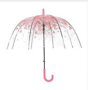 جديد الموضة 4 ألوان الإبداعية النساء المطر الشمس مظلة مقبض طويل زهر الكرز فطر الأميرة مظلة شفافة رومانسية