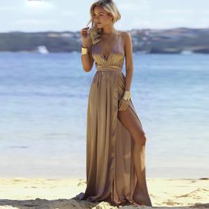 Deep V Neck Sexy Women Summer Dress 2018 Floor Length Strap Backless High Waist Long Maxi Dress Elegant Beach Dress