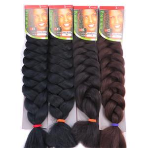 Extensões de cabelo de tranças ultra-X de pressão 82 polegadas 165G extensão de cabelo sintético Jumbo Braid X-pression Hair Multicolor