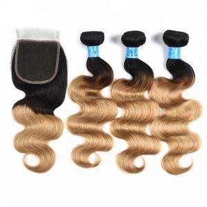 Vücut Dalga 3 Demetleri İnsan Saç Uzantıları 4X4 Ücretsiz Kısmı Dantel Kapatma ile Iki Ton Ombre Renk 1B 27 Doğal Siyah Kamerun Sarışın