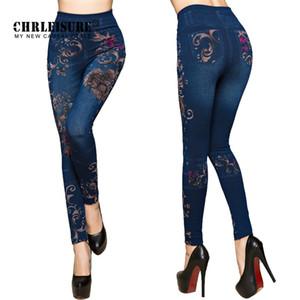CHRLEISURE женщины джинсы леггинсы осень цветы печатных тонкий хлопок женщина Jeggings дамы поддельные джинсы брюки леггинсы Леггинсы