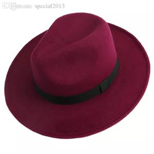 Atacado-Homens Mulheres Jazz Bowknot Feltro Fedora Bowler Panama Wide Hat Brim Gangster Cap-J117