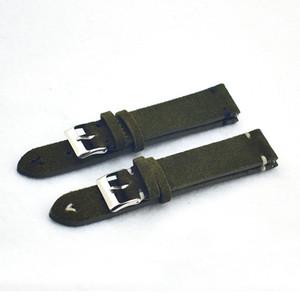 Bandas de reloj verdes Correa Correa de reloj de cuero de gamuza Hombres Mujeres Genuino 18mm 20mm 22mm Correa de reloj de repuesto KZSD07