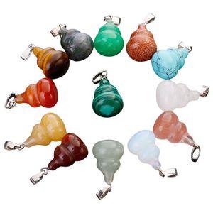 Grátis moda andmade jóias pedra em forma de cabaça colar de pingente de cristal talão colar de pingente de jóias DIY acessórios fazendo presentes do feriado