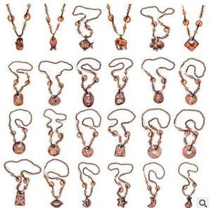 Bohemia collares de madera geométrica animales collar suéter cadena hermosa impresión collares souvenir regalos joyería 20 estilos 486
