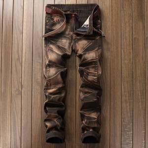 Yeni 2018 moda Vintage erkek kot klasikleri kot Denim İnce Tasarımcı pantolon giysi Artı Boyutu 42 mens