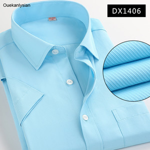 Ouekanlysian Summer Top Quality Mens Twill Dress Shirts Designer Fitness Short Sleeve Formal Business Shirt Pure Color Camisa