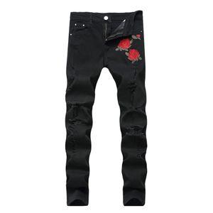 New Fashion Black Ripped Jeans mit Stickerei Männer mit Blumen Rose Gestickte Herren Jeans Stretch Röhrenjeans Hosen