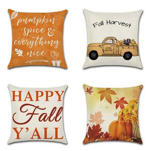 Automne Récolte heureuse Coussin décoratif Couverture Thanksgiving taie avec fermeture éclair Sofa taille voiture pas cher Accueil Décoration 18 pouces