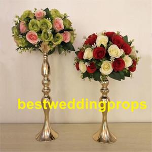 elegante nova chegada alta! Vaso do metal do ouro, vaso de flor mental da tira, vaso traseiro real da trombeta para a decoração best017