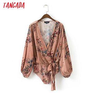 Tangada Moda Feminina Estampa Floral Blusa Corpo Sexy Profundo Decote Em V Arco Bodysuit Camisa Manga Longa Playsuit Tops XD13