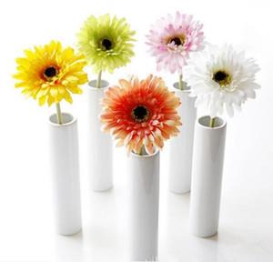 Bouquet da sposa fiore di seta African Daisy fiori artificiali autunno vivido falso foglia fiori da sposa mazzi di fiori per la decorazione domestica