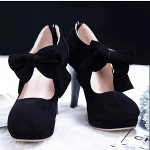 Venda preto quente Toe Rodada Bowtie oco salto agulha botas de senhora em saldo botas botas femininas Wedding Shoes