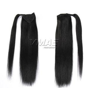Envoltura mágica peruana alrededor de la cola de caballo 120g Clip en Stragiht Horsetail Extensiones de cabello humano 100% virgen VMAE HAIR