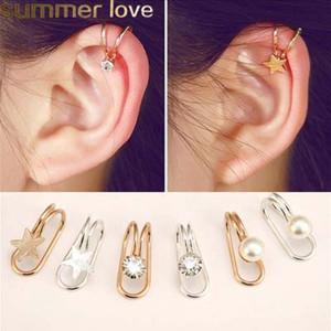 Nueva estrella de la moda del corazón en forma de U clip de oreja para las mujeres de oro astilla de color de cristal pendiente de perla regalo de la joyería barata al por mayor