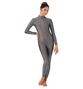 Adulte costume de yoga gymnastique Noir Unitards Ballet manches longues Spandex Lycra Unitard Bodysuit Cadrage en pied vetement femme Ballet de danse